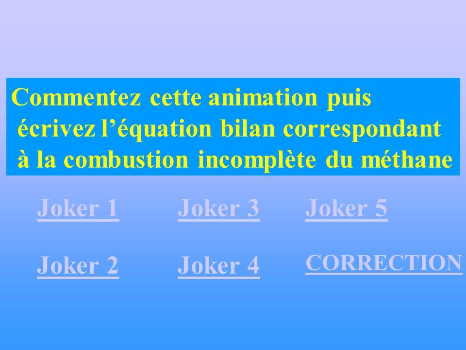 Commentez cette animation puis écrivez léquation bilan correspondant à la combustion incomplète du méthane Joker 1 Joker 2 CORRECTION Joker 3 Joker 4