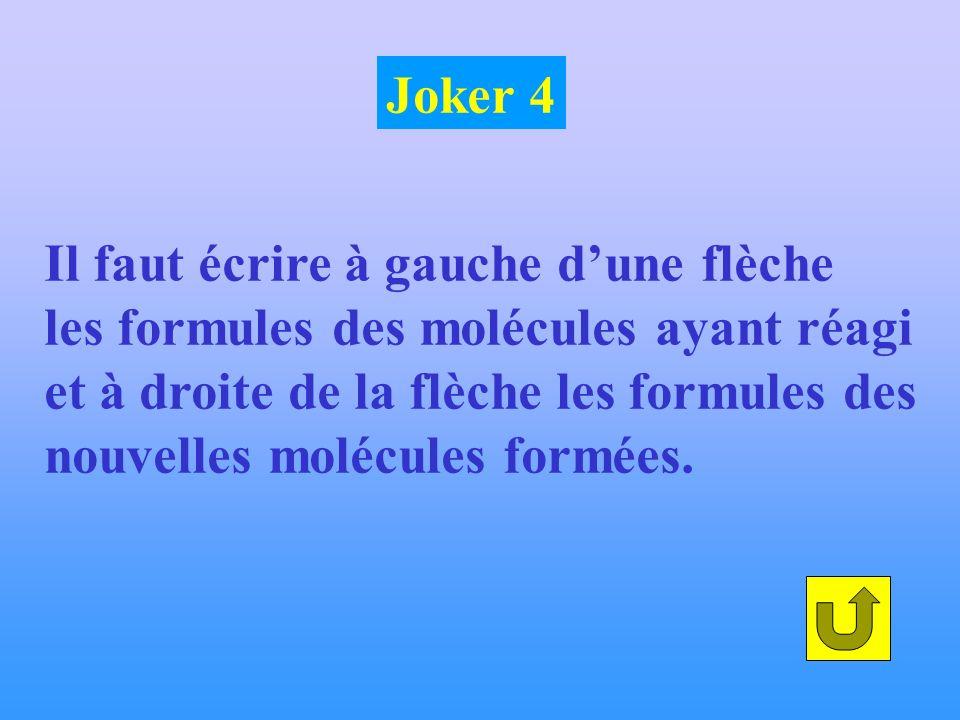 Il faut écrire à gauche dune flèche les formules des molécules ayant réagi et à droite de la flèche les formules des nouvelles molécules formées. Joke
