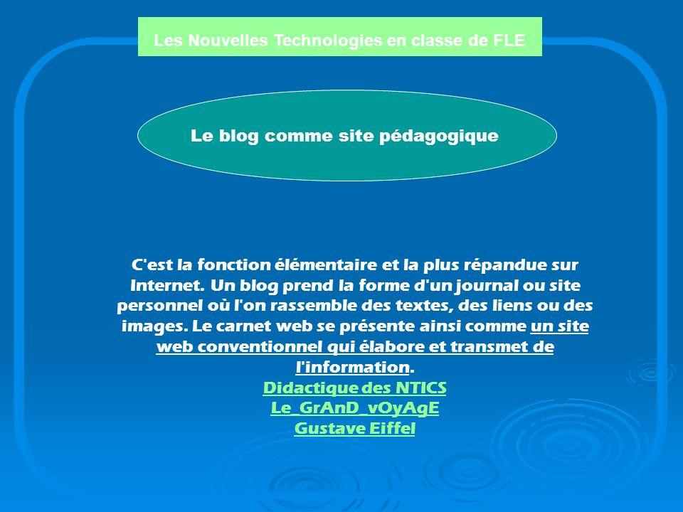 Les Nouvelles Technologies en classe de FLE Fonctions des blogs: Fonctions des blogs: 1.Le blog comme site pédagogique 2. Le blog comme recherche ou e