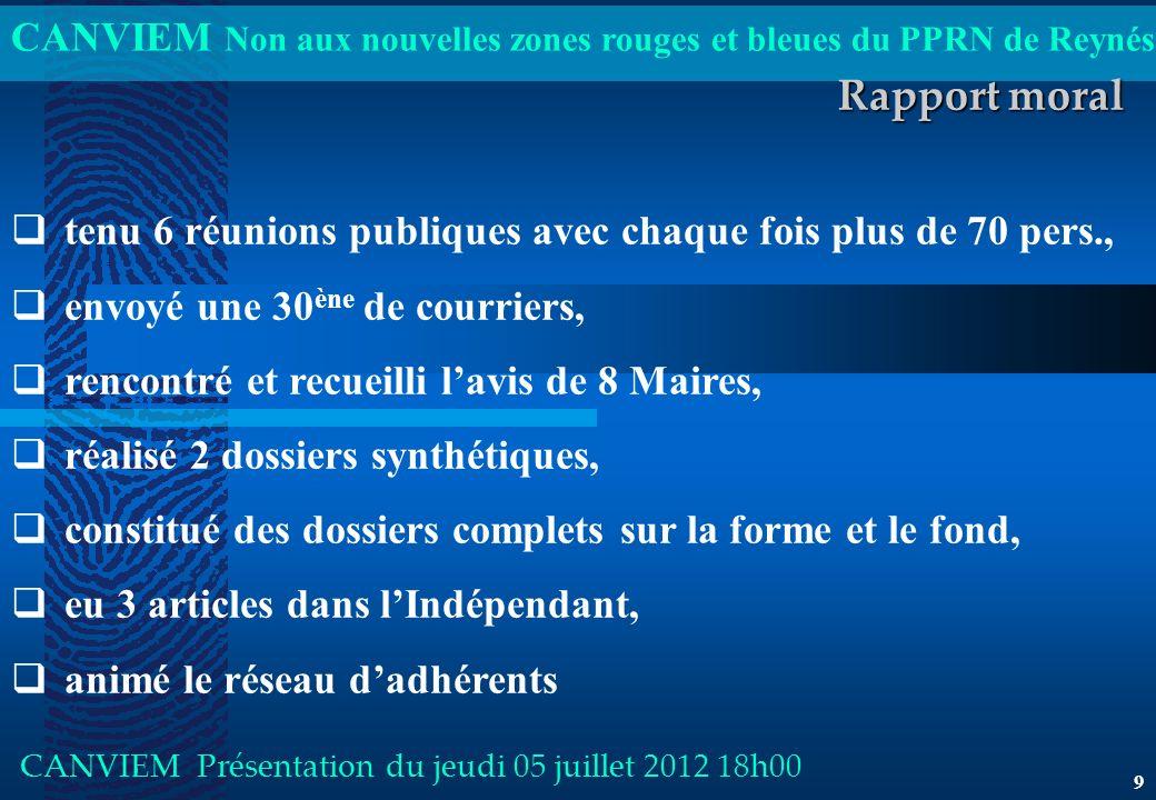 CANVIEM Non aux nouvelles zones rouges et bleues du PPRN de Reynés CANVIEM Présentation du jeudi 05 juillet 2012 18h00 9 Rapport moral tenu 6 réunions