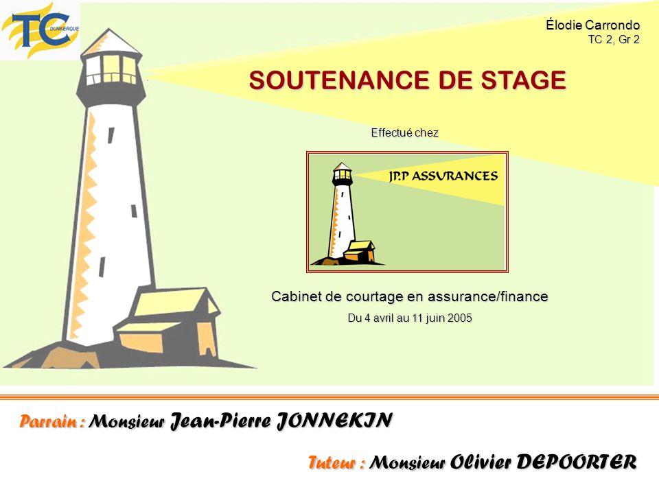 Parrain : Monsieur Jean-Pierre JONNEKIN Tuteur : Monsieur Olivier DEPOORTER SOUTENANCE DE STAGE Cabinet de courtage en assurance/finance Du 4 avril au