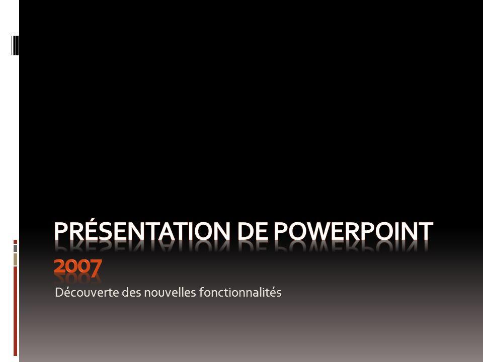 PowerPoint 2007 Cette présentation illustre les nouvelles fonctions de PowerPoint grâce à des exemples.