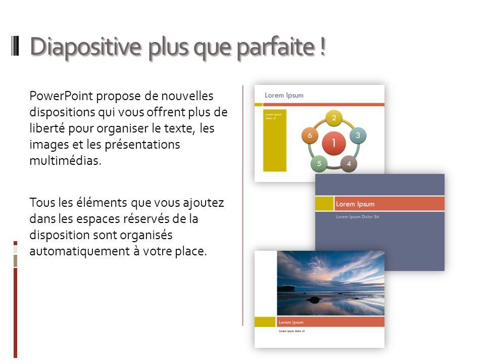 Diapositive plus que parfaite ! PowerPoint propose de nouvelles dispositions qui vous offrent plus de liberté pour organiser le texte, les images et l