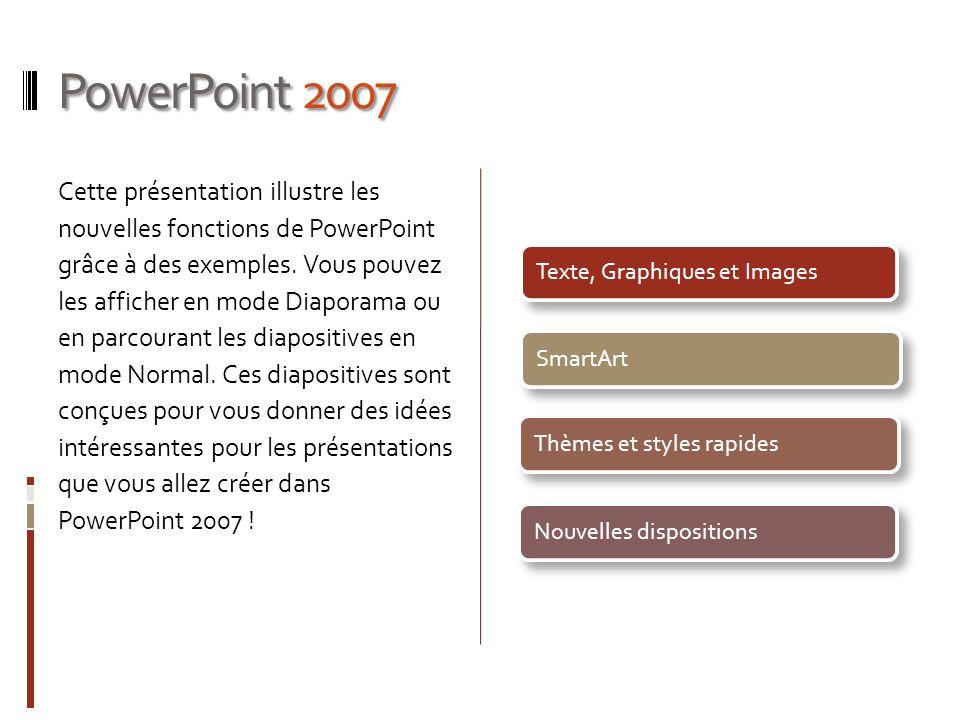 PowerPoint 2007 Cette présentation illustre les nouvelles fonctions de PowerPoint grâce à des exemples. Vous pouvez les afficher en mode Diaporama ou