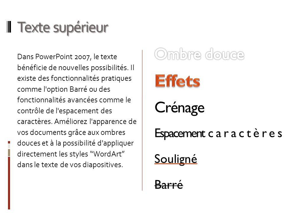 Texte supérieur Dans PowerPoint 2007, le texte bénéficie de nouvelles possibilités. Il existe des fonctionnalités pratiques comme l'option Barré ou de