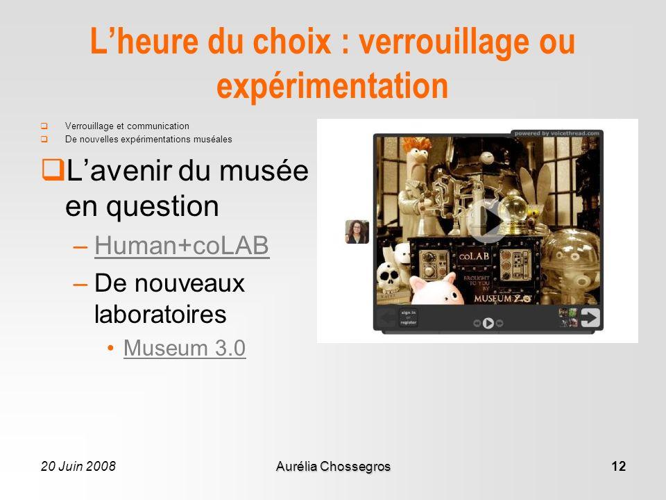 20 Juin 2008Aurélia Chossegros12 Lheure du choix : verrouillage ou expérimentation Verrouillage et communication De nouvelles expérimentations muséales Lavenir du musée en question –Human+coLABHuman+coLAB –De nouveaux laboratoires Museum 3.0