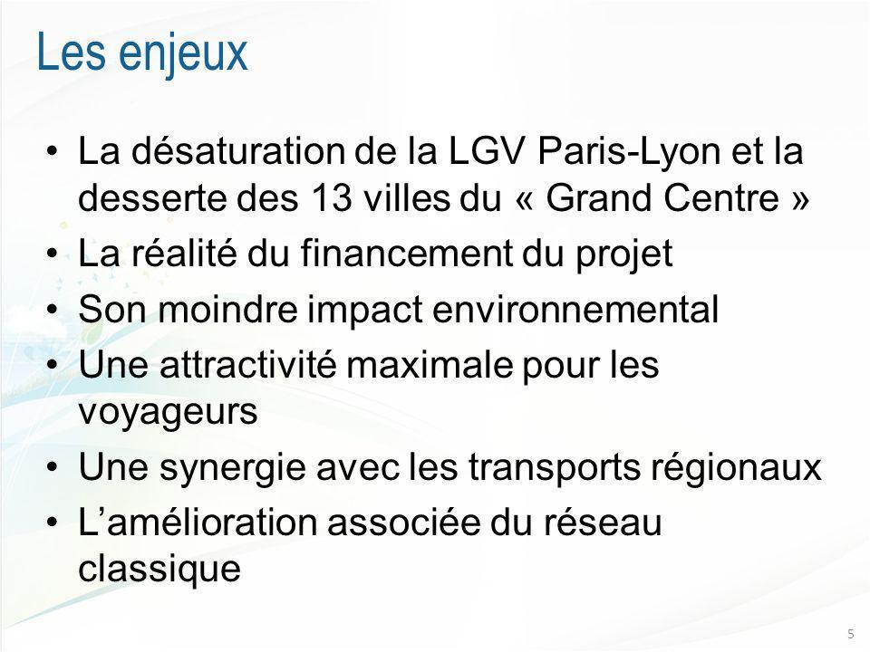 Les enjeux La désaturation de la LGV Paris-Lyon et la desserte des 13 villes du « Grand Centre » La réalité du financement du projet Son moindre impact environnemental Une attractivité maximale pour les voyageurs Une synergie avec les transports régionaux Lamélioration associée du réseau classique 5