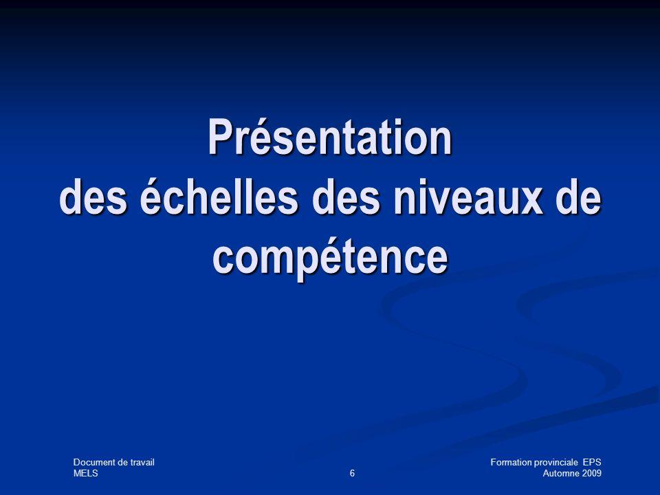 Document de travailFormation provinciale EPS MELS6Automne 2009 Présentation des échelles des niveaux de compétence