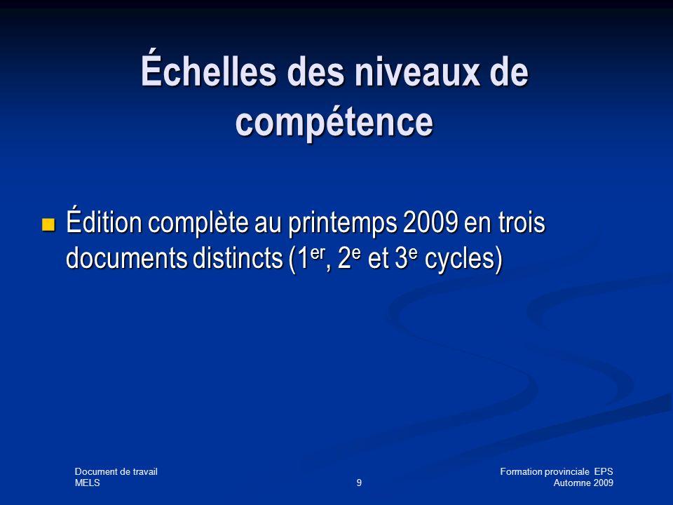 Document de travailFormation provinciale EPS MELS9Automne 2009 Échelles des niveaux de compétence Édition complète au printemps 2009 en trois documents distincts (1 er, 2 e et 3 e cycles) Édition complète au printemps 2009 en trois documents distincts (1 er, 2 e et 3 e cycles)