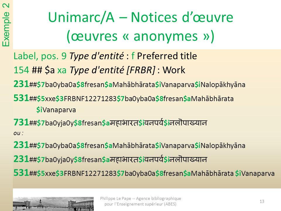 Unimarc/A – Notices dœuvre (œuvres « anonymes ») Label, pos. 9 Type d'entité : f Preferred title 154 ## $a xa Type d'entité [FRBR] : Work 231 ##$7ba0y