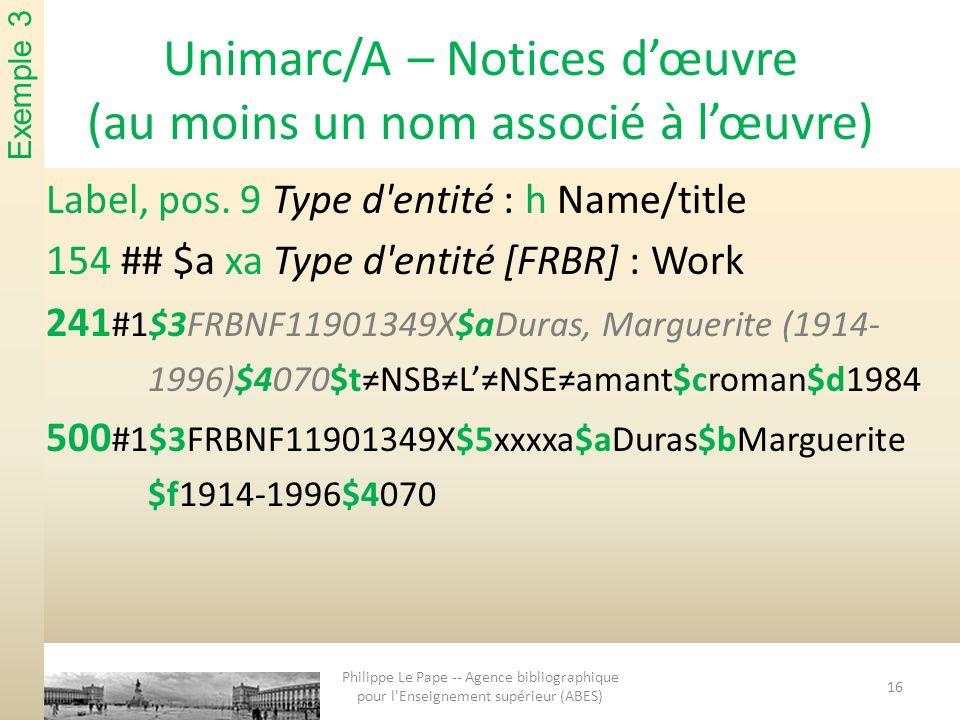 Unimarc/A – Notices dœuvre (au moins un nom associé à lœuvre) Label, pos. 9 Type d'entité : h Name/title 154 ## $a xa Type d'entité [FRBR] : Work 241