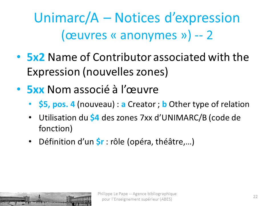 Unimarc/A – Notices dexpression (œuvres « anonymes ») -- 2 5x2 Name of Contributor associated with the Expression (nouvelles zones) 5xx Nom associé à lœuvre $5, pos.