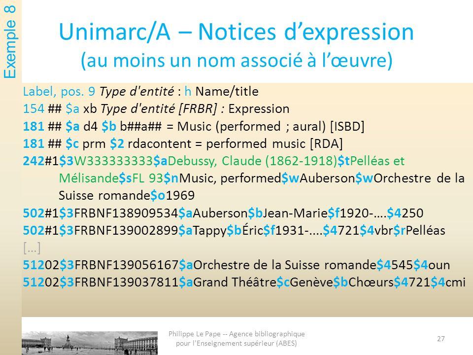 Unimarc/A – Notices dexpression ( au moins un nom associé à lœuvre ) Label, pos. 9 Type d'entité : h Name/title 154 ## $a xb Type d'entité [FRBR] : Ex