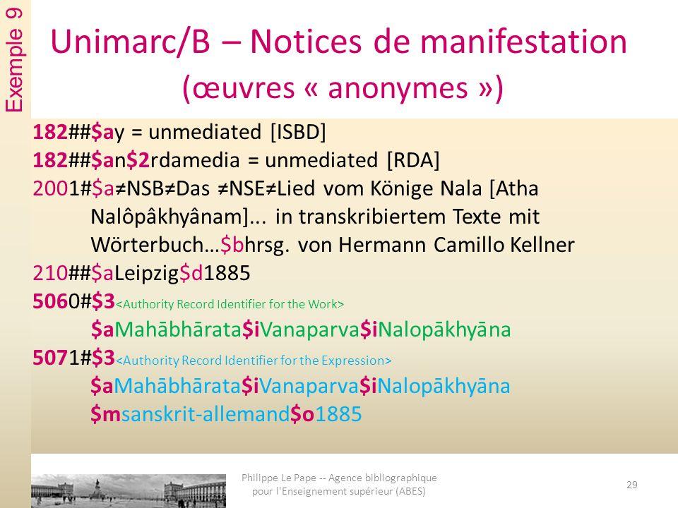 Unimarc/B – Notices de manifestation (œuvres « anonymes ») 182##$ay = unmediated [ISBD] 182##$an$2rdamedia = unmediated [RDA] 2001#$aNSBDas NSELied vom Könige Nala [Atha Nalôpâkhyânam]...