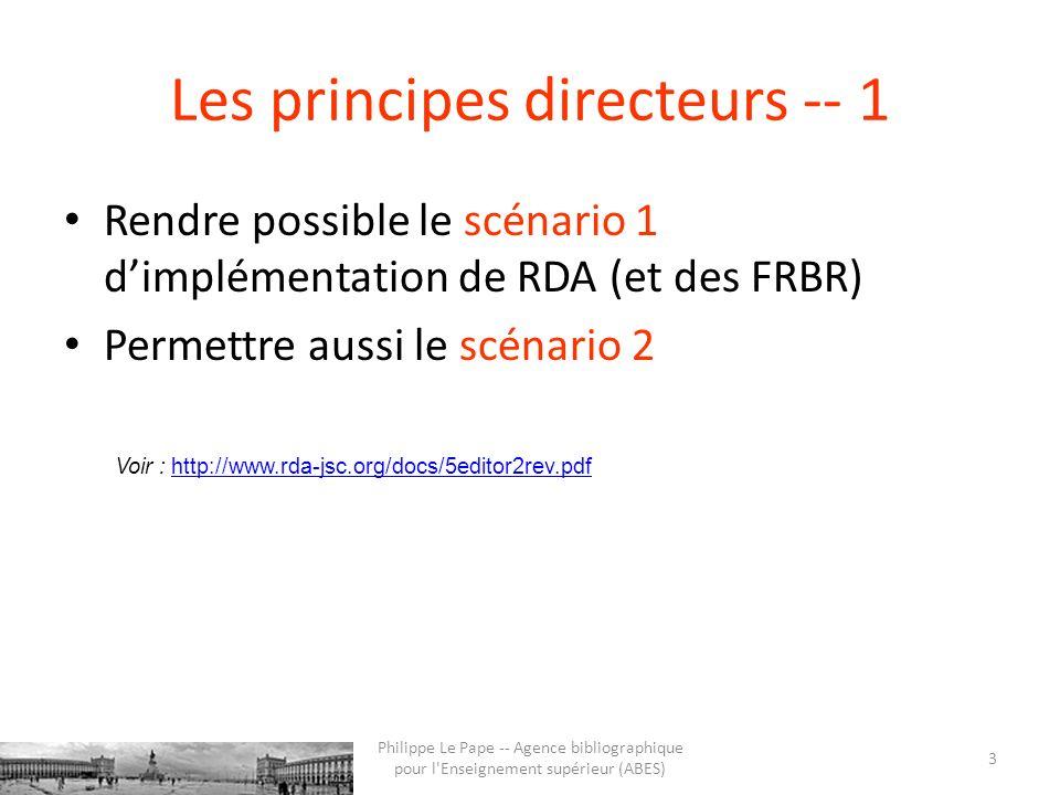 Les principes directeurs -- 1 Rendre possible le scénario 1 dimplémentation de RDA (et des FRBR) Permettre aussi le scénario 2 3 Philippe Le Pape -- Agence bibliographique pour l Enseignement supérieur (ABES) Voir : http://www.rda-jsc.org/docs/5editor2rev.pdfhttp://www.rda-jsc.org/docs/5editor2rev.pdf