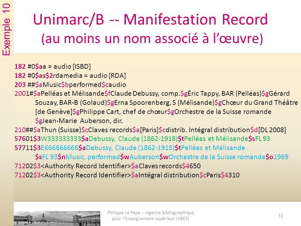 Unimarc/B -- Manifestation Record ( au moins un nom associé à lœuvre ) 182 #0$aa = audio [ISBD] 182 #0$as$2rdamedia = audio [RDA] 203 ##$aMusic$bperformed$caudio 2001#$aPelléas et Mélisande$fClaude Debussy, comp.$gÉric Tappy, BAR (Pelléas)$gGérard Souzay, BAR-B (Golaud)$gErna Spoorenberg, S (Mélisande)$gChœur du Grand Théâtre [de Genève]$gPhilippe Cart, chef de chœur$gOrchestre de la Suisse romande $gJean-Marie Auberson, dir.