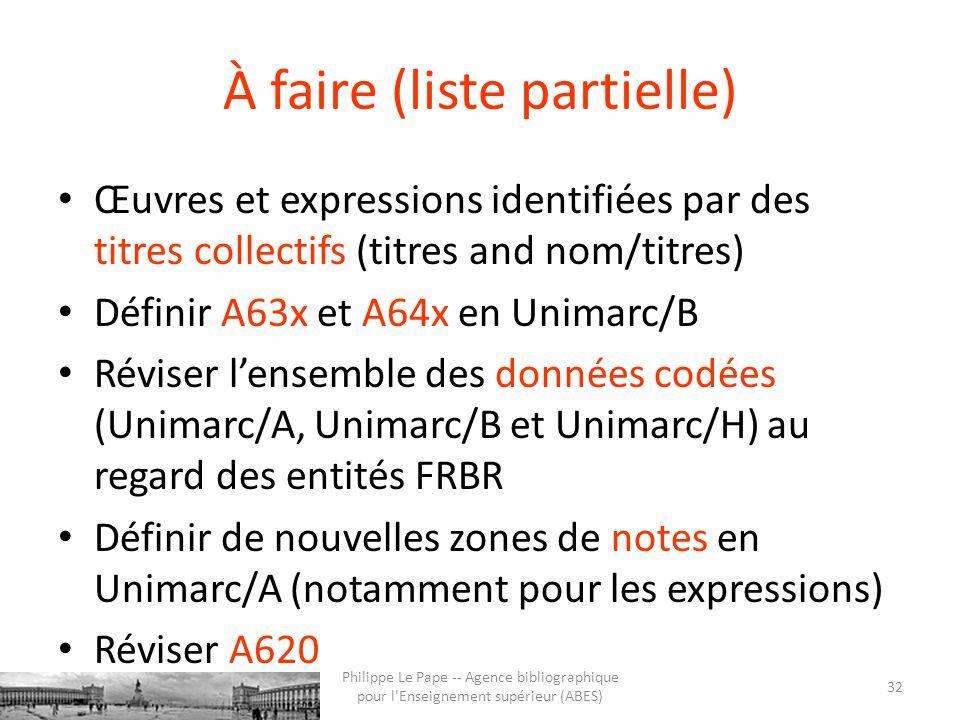 À faire (liste partielle) Œuvres et expressions identifiées par des titres collectifs (titres and nom/titres) Définir A63x et A64x en Unimarc/B Révise