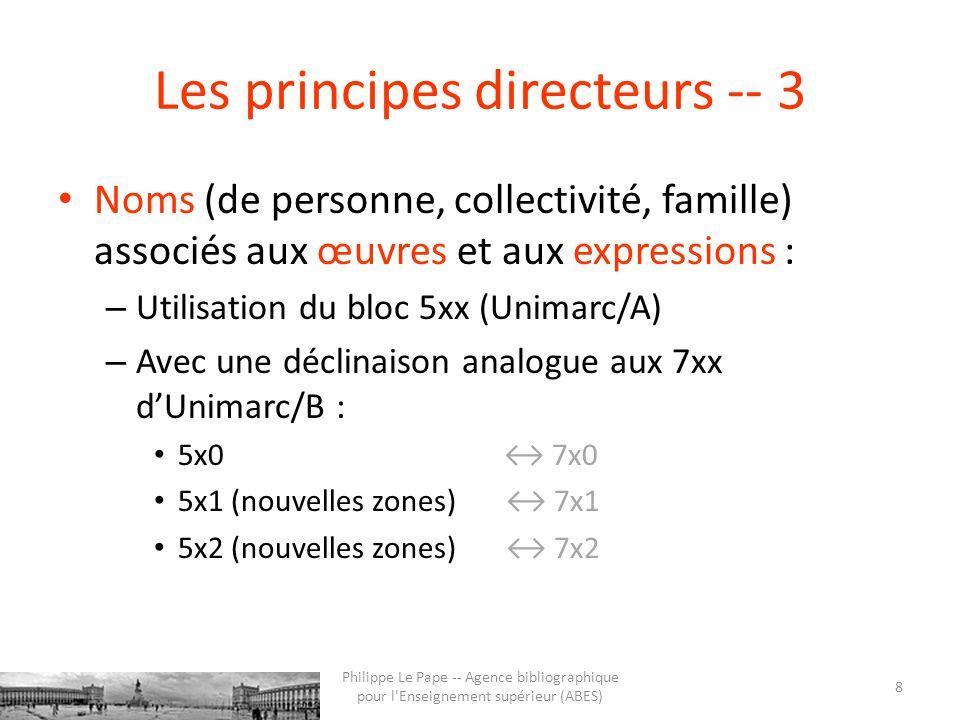 Les principes directeurs -- 3 Noms (de personne, collectivité, famille) associés aux œuvres et aux expressions : – Utilisation du bloc 5xx (Unimarc/A) – Avec une déclinaison analogue aux 7xx dUnimarc/B : 5x0 7x0 5x1 (nouvelles zones) 7x1 5x2 (nouvelles zones) 7x2 8 Philippe Le Pape -- Agence bibliographique pour l Enseignement supérieur (ABES)