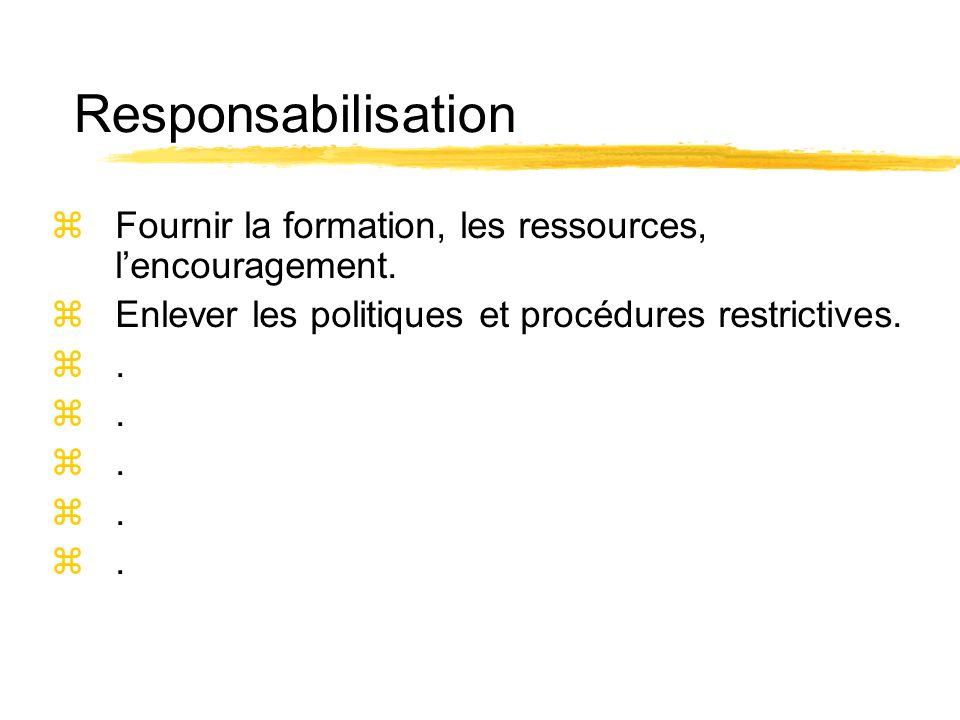 Responsabilisation zFournir la formation, les ressources, lencouragement. zEnlever les politiques et procédures restrictives. z.