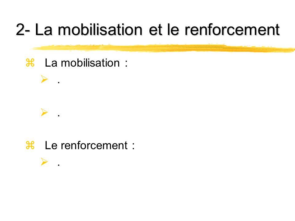 2- La mobilisation et le renforcement zLa mobilisation :. zLe renforcement :.