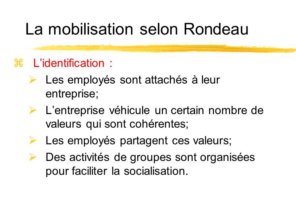 zLidentification : Les employés sont attachés à leur entreprise; Lentreprise véhicule un certain nombre de valeurs qui sont cohérentes; Les employés p