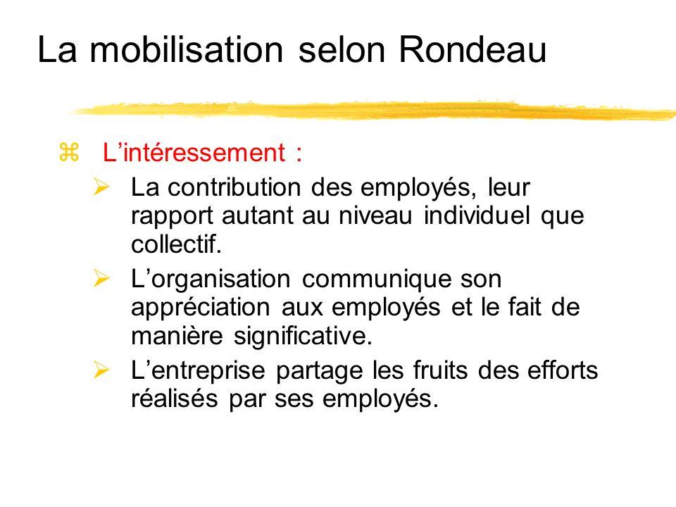 zLintéressement : La contribution des employés, leur rapport autant au niveau individuel que collectif. Lorganisation communique son appréciation aux