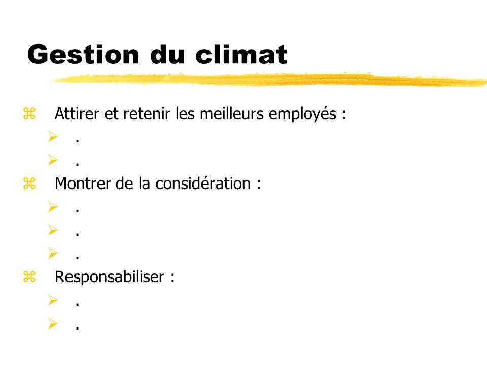 Gestion du climat zAttirer et retenir les meilleurs employés :. zMontrer de la considération :. zResponsabiliser :.