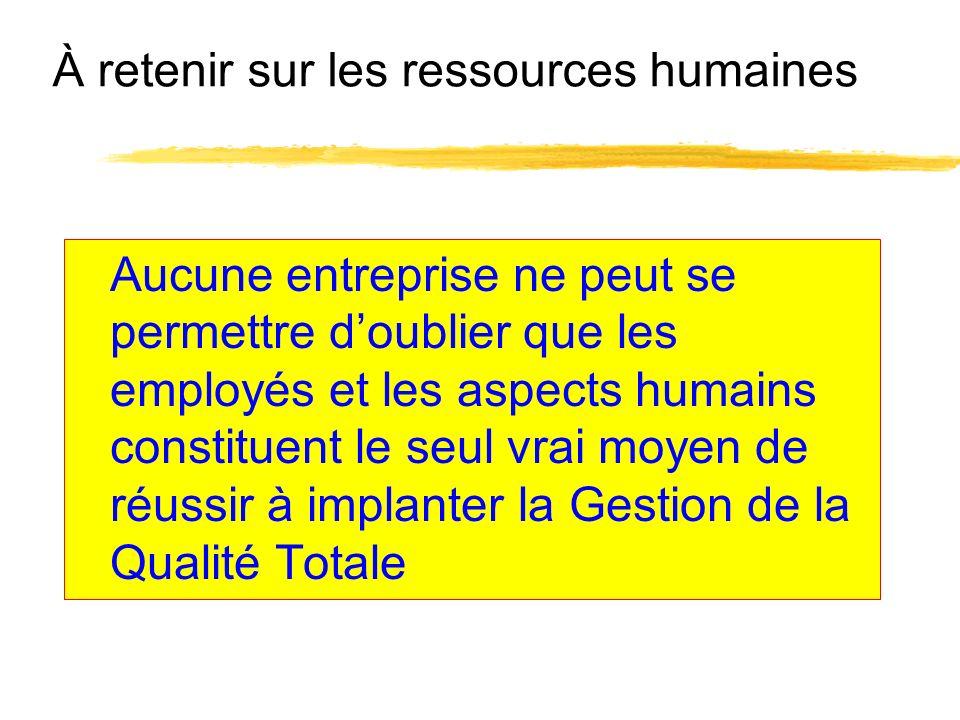 À retenir sur les ressources humaines Aucune entreprise ne peut se permettre doublier que les employés et les aspects humains constituent le seul vrai