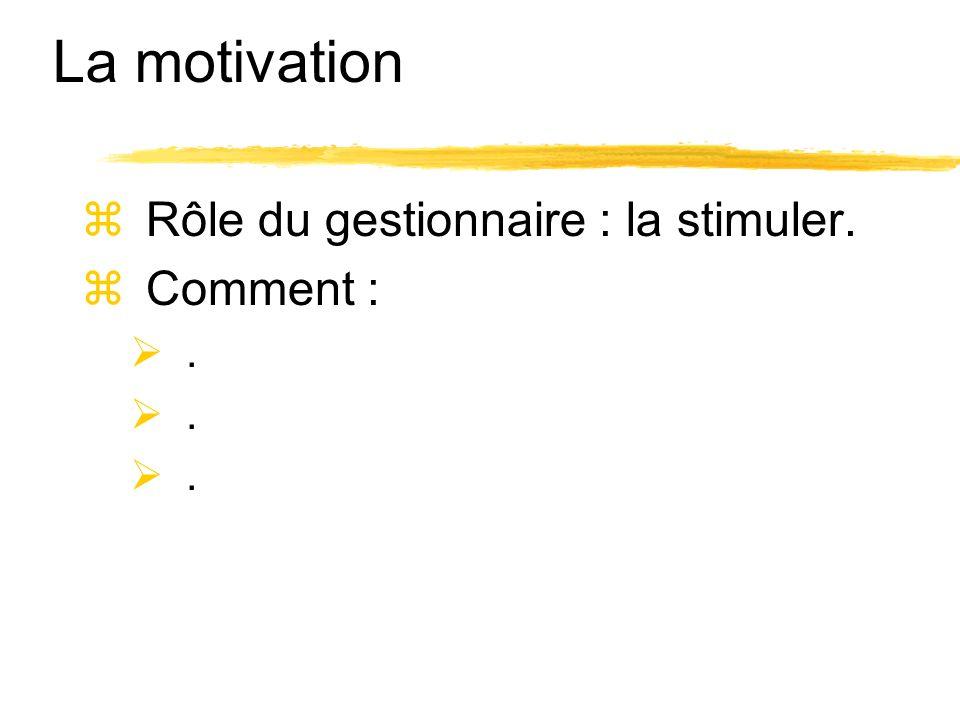 La motivation Rôle du gestionnaire : la stimuler. Comment :.