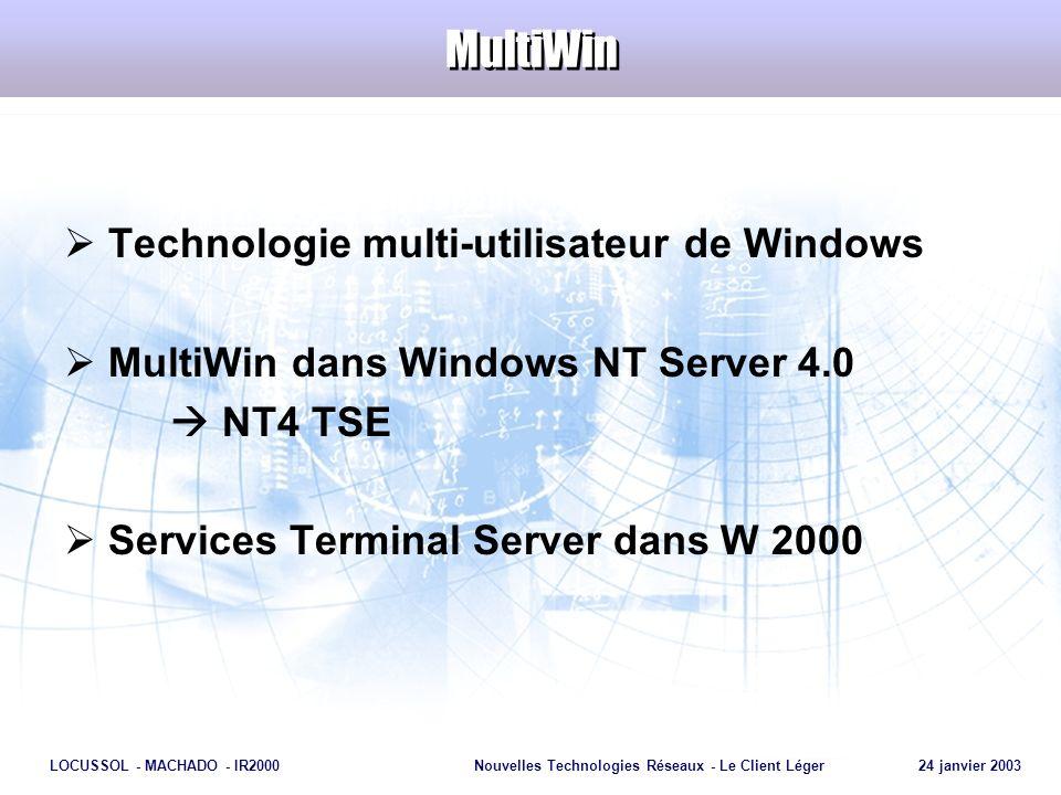 Page 12 LOCUSSOL - MACHADO - IR2000Nouvelles Technologies Réseaux - Le Client Léger 24 janvier 2003 MultiWin Technologie multi-utilisateur de Windows