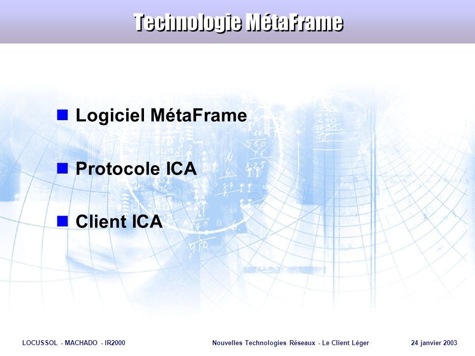 Page 13 LOCUSSOL - MACHADO - IR2000Nouvelles Technologies Réseaux - Le Client Léger 24 janvier 2003 Technologie MétaFrame Logiciel MétaFrame Protocole