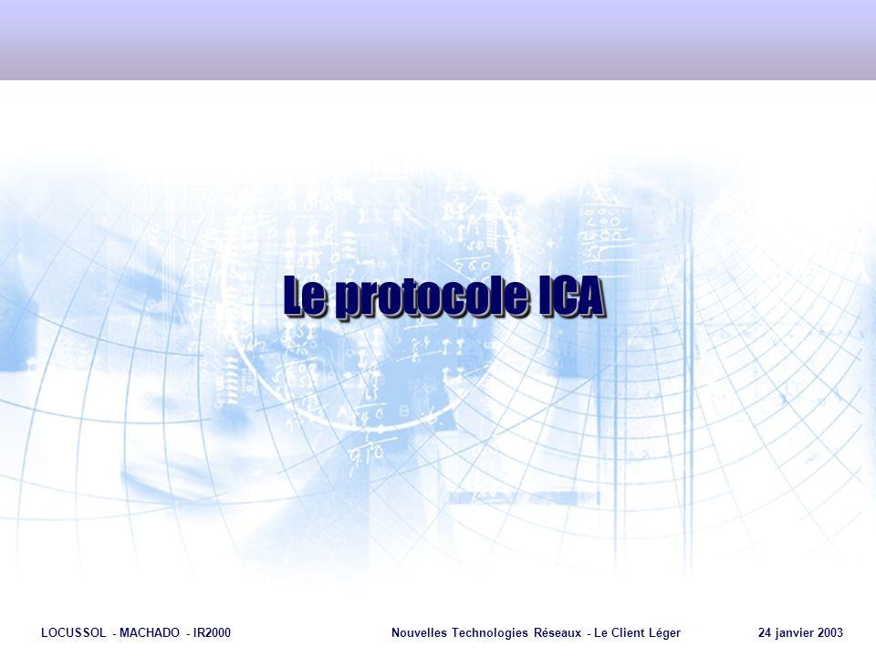 Page 16 LOCUSSOL - MACHADO - IR2000Nouvelles Technologies Réseaux - Le Client Léger 24 janvier 2003 Le protocole ICA