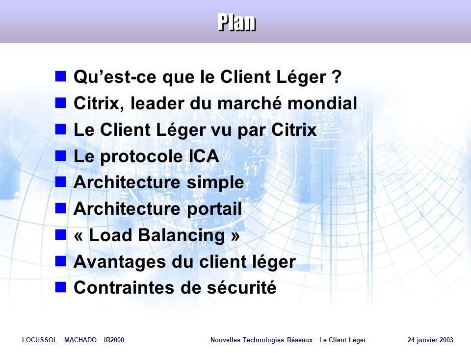 Page 13 LOCUSSOL - MACHADO - IR2000Nouvelles Technologies Réseaux - Le Client Léger 24 janvier 2003 Technologie MétaFrame Logiciel MétaFrame Protocole ICA Client ICA
