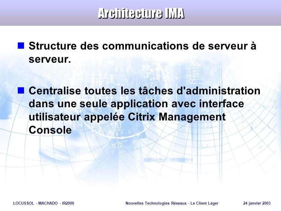Page 26 LOCUSSOL - MACHADO - IR2000Nouvelles Technologies Réseaux - Le Client Léger 24 janvier 2003 Architecture IMA Structure des communications de s