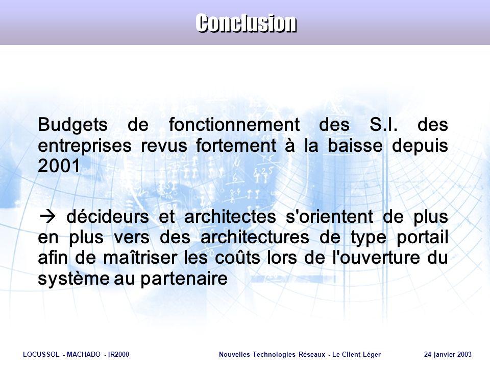 Page 30 LOCUSSOL - MACHADO - IR2000Nouvelles Technologies Réseaux - Le Client Léger 24 janvier 2003 Conclusion Budgets de fonctionnement des S.I. des