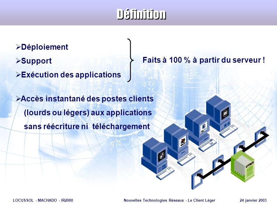 Page 17 LOCUSSOL - MACHADO - IR2000Nouvelles Technologies Réseaux - Le Client Léger 24 janvier 2003 Le protocole ICA ICA = Independant Computing Architecture Protocole de présentation à distance multicanal Logique dapplication séparée de son interface utilisateur Des performances élevées même sur des réseaux à faible bande passante Ethernet partagé 10 Mbps Ethernet sans fil 2 Mbps ISDN 64 Kbps Modem 28.8 Kbps ICA 10 Kbps
