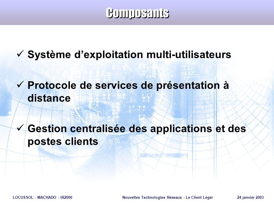 Page 28 LOCUSSOL - MACHADO - IR2000Nouvelles Technologies Réseaux - Le Client Léger 24 janvier 2003 Avantages Réduction du TCO Contrôle centralisé Performances indépendantes de la BP Hétérogénéité : 1.Des postes clients (UNIX, MacOS, DOS …) 2.Des connexions réseaux (T1, X25, RNIS, Frame Relay, ATM…) 3.Des protocoles réseaux (TCP/IP, IPX, SPX, NetBIOS)