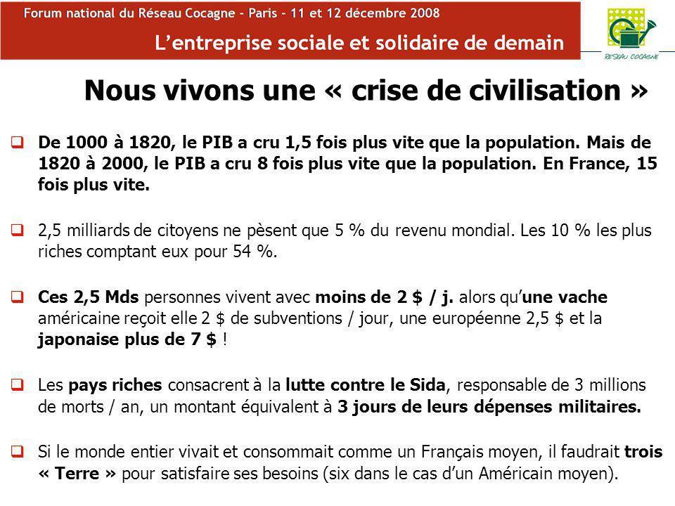 Forum Cocagne Nous vivons une « crise de civilisation » De 1000 à 1820, le PIB a cru 1,5 fois plus vite que la population.