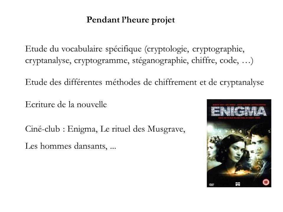 Pendant lheure projet Etude du vocabulaire spécifique (cryptologie, cryptographie, cryptanalyse, cryptogramme, stéganographie, chiffre, code, …) Etude