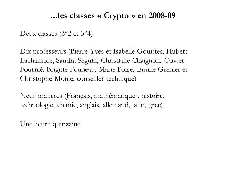 ...les classes « Crypto » en 2008-09 Deux classes (3°2 et 3°4) Dix professeurs (Pierre-Yves et Isabelle Gouiffes, Hubert Lachambre, Sandra Seguin, Chr