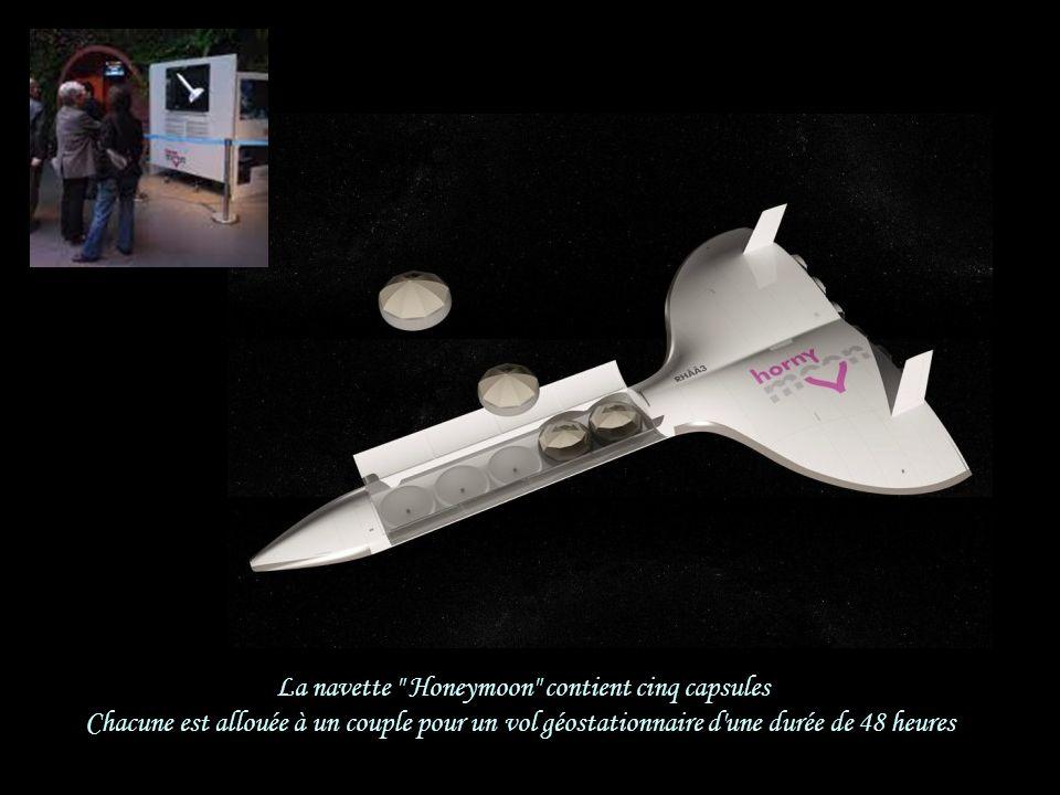 Cerise sur le gâteau… Honeymoon Hairways présente… Son propulseur de navettes spatiales pour une lune de miel en apesanteur