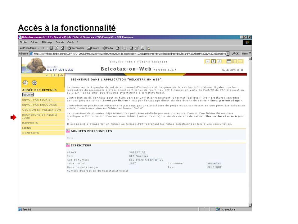 Accès à la fonctionnalité Cliquez sur « Fiches – Modification, Annulation et Ajout »