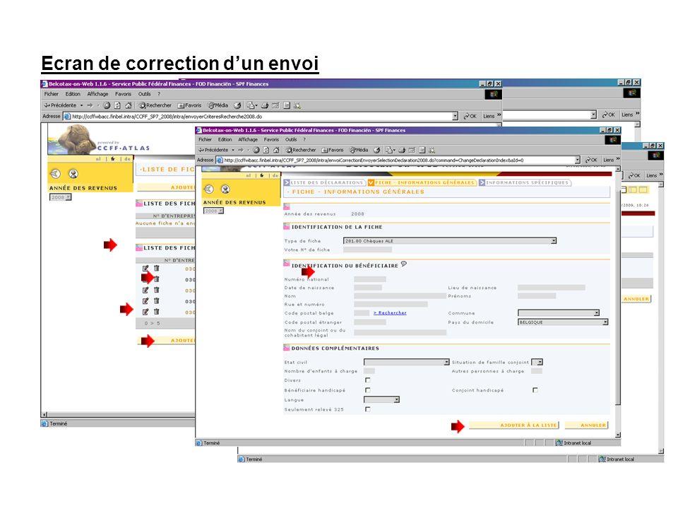 Ecran de correction dun envoi Pour supprimer une fiche cliquez sur Pour modifier une fiche cliquez sur Pour ajouter une fiche cliquez sur le bouton « AJOUTER UNE FICHE » Votre sélection apparaît sous « LISTE DES FICHES RECHERCHEES ».