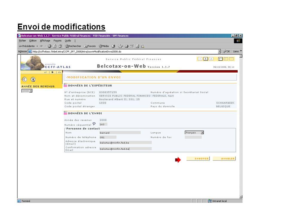 Envoi de modifications Cliquez sur « ENVOYER ».