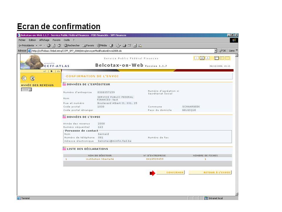 Ecran de confirmation Confirmez votre envoi.