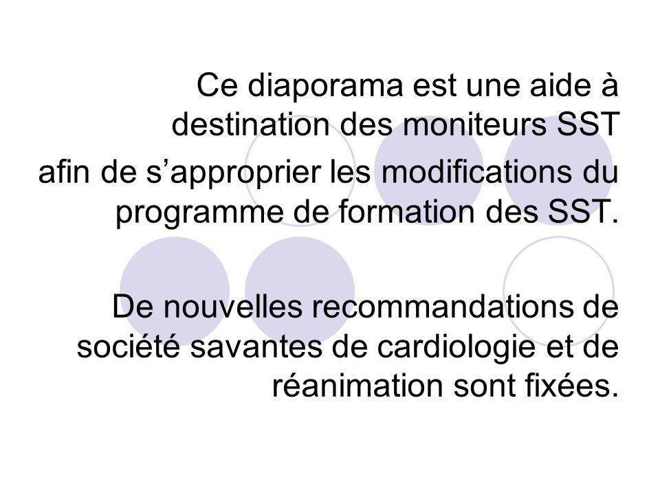 Ce diaporama est une aide à destination des moniteurs SST afin de sapproprier les modifications du programme de formation des SST. De nouvelles recomm