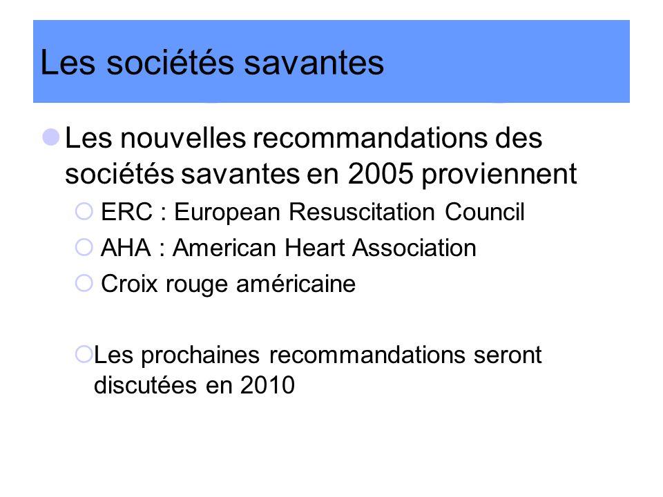 Les sociétés savantes Les nouvelles recommandations des sociétés savantes en 2005 proviennent ERC : European Resuscitation Council AHA : American Hear