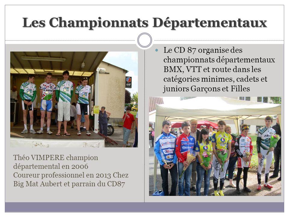 Les Championnats Départementaux Le CD 87 organise des championnats départementaux BMX, VTT et route dans les catégories minimes, cadets et juniors Gar