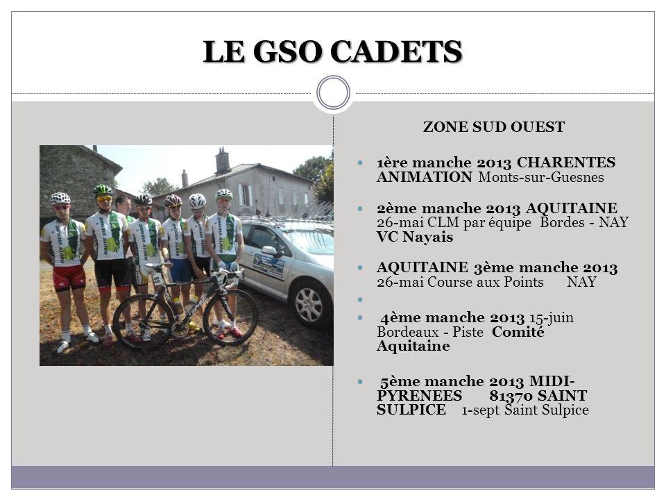LE GSO CADETS ZONE SUD OUEST 1ère manche 2013 CHARENTES ANIMATION Monts-sur-Guesnes 2ème manche 2013 AQUITAINE 26-mai CLM par équipe Bordes - NAY VC N
