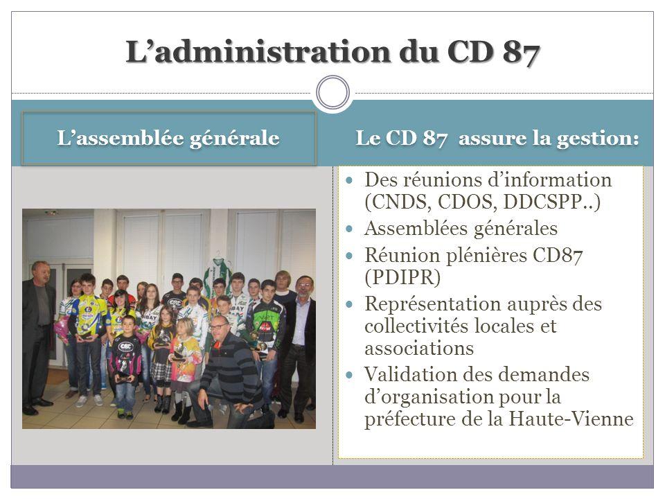 Lassemblée générale Le CD 87 assure la gestion: Des réunions dinformation (CNDS, CDOS, DDCSPP..) Assemblées générales Réunion plénières CD87 (PDIPR) R